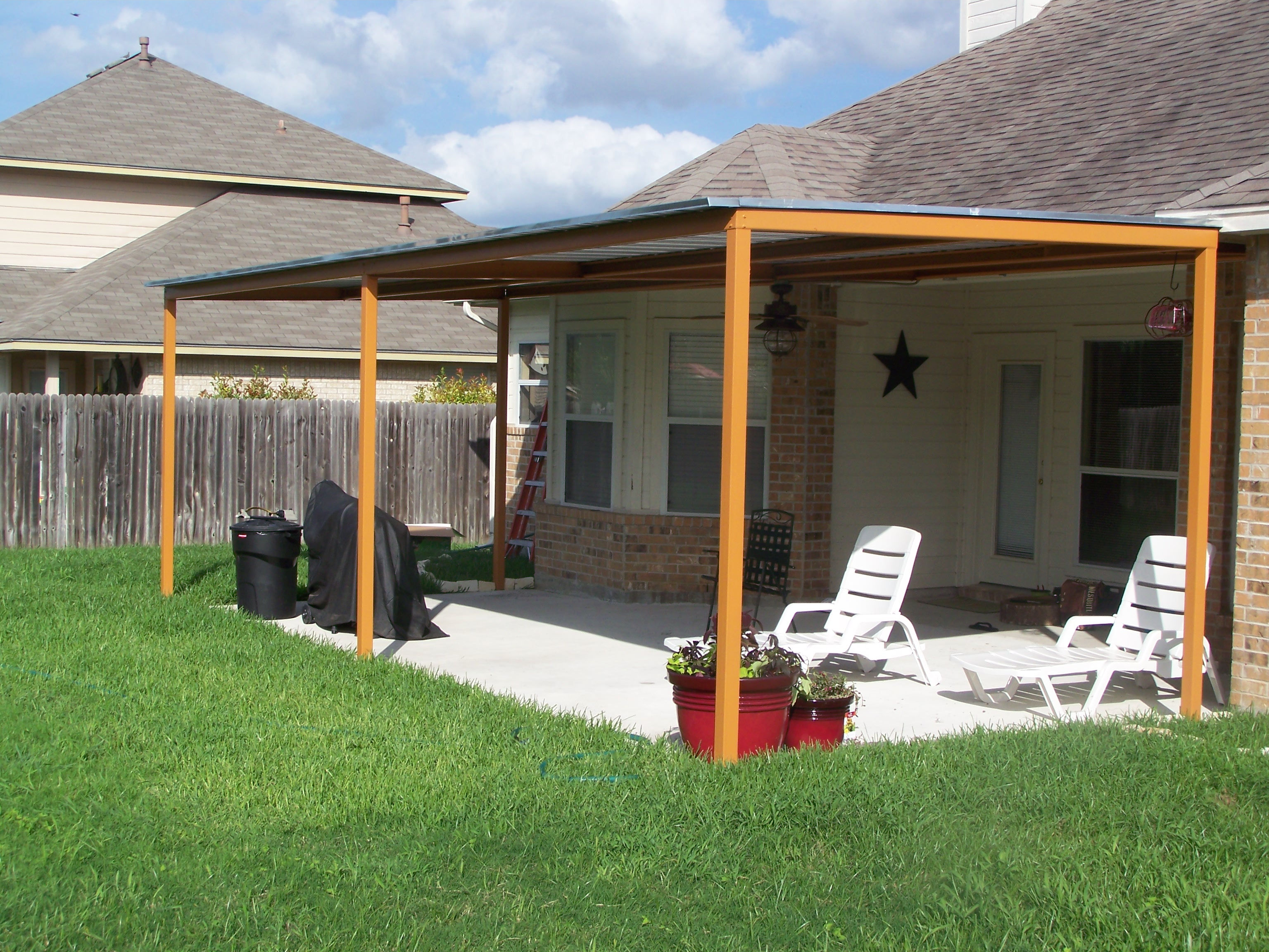 Custom steel patio cover awning new braunfels texas for Porch canopy plans