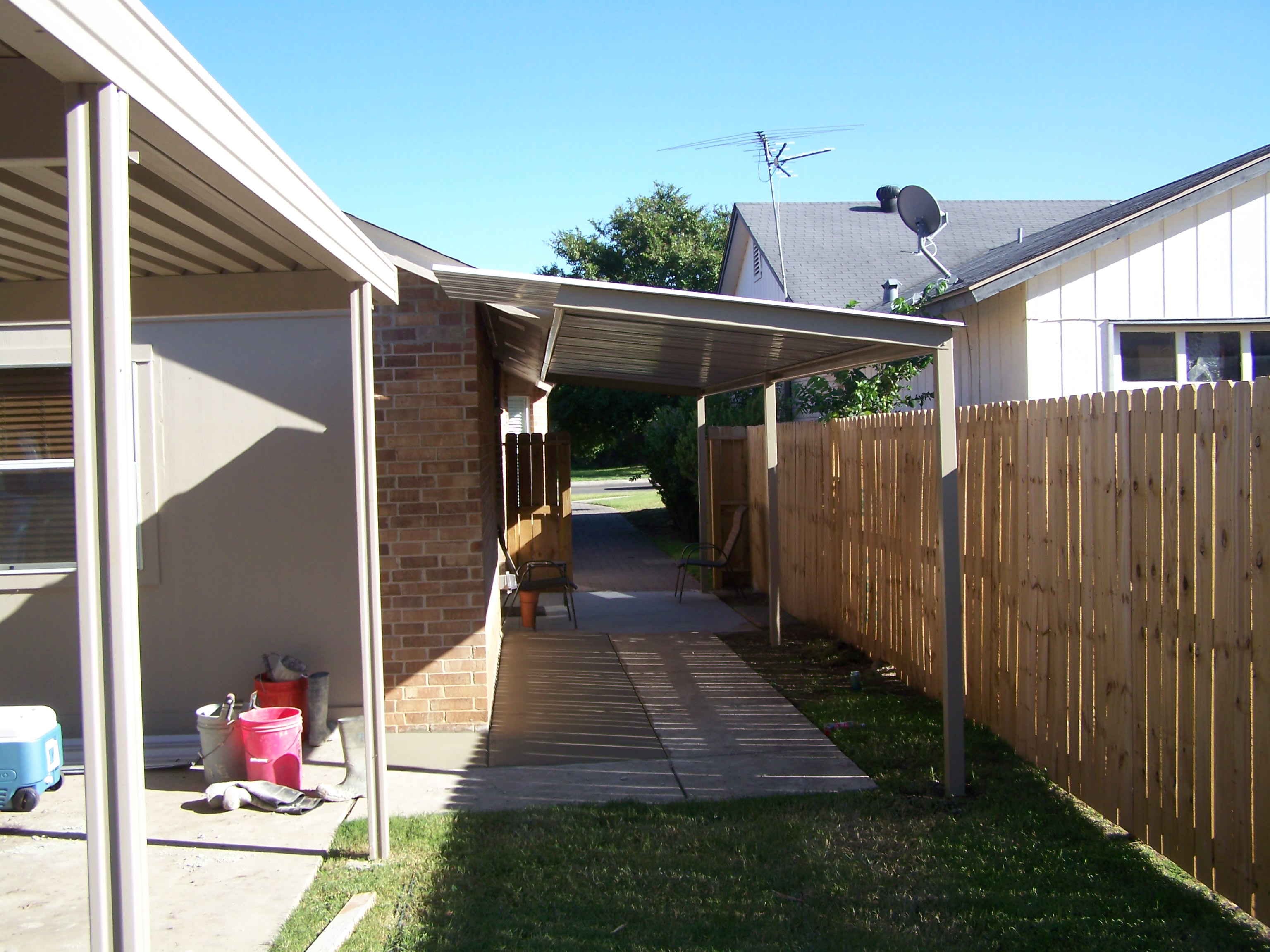 Free standing patio awning cover south san antonio for Freestanding patio cover