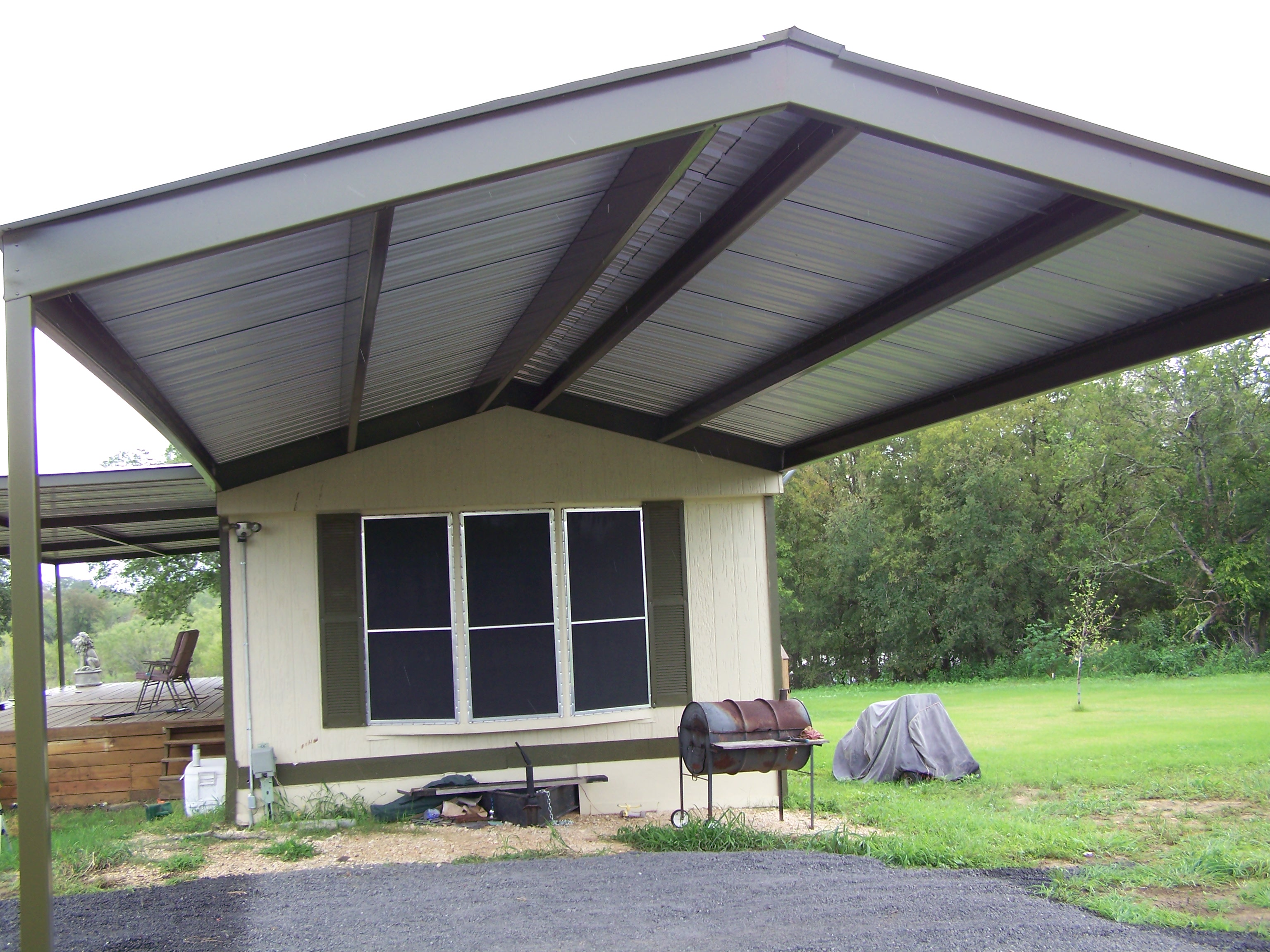 Mobile home metal roof awning carport la vernia for Carport deck