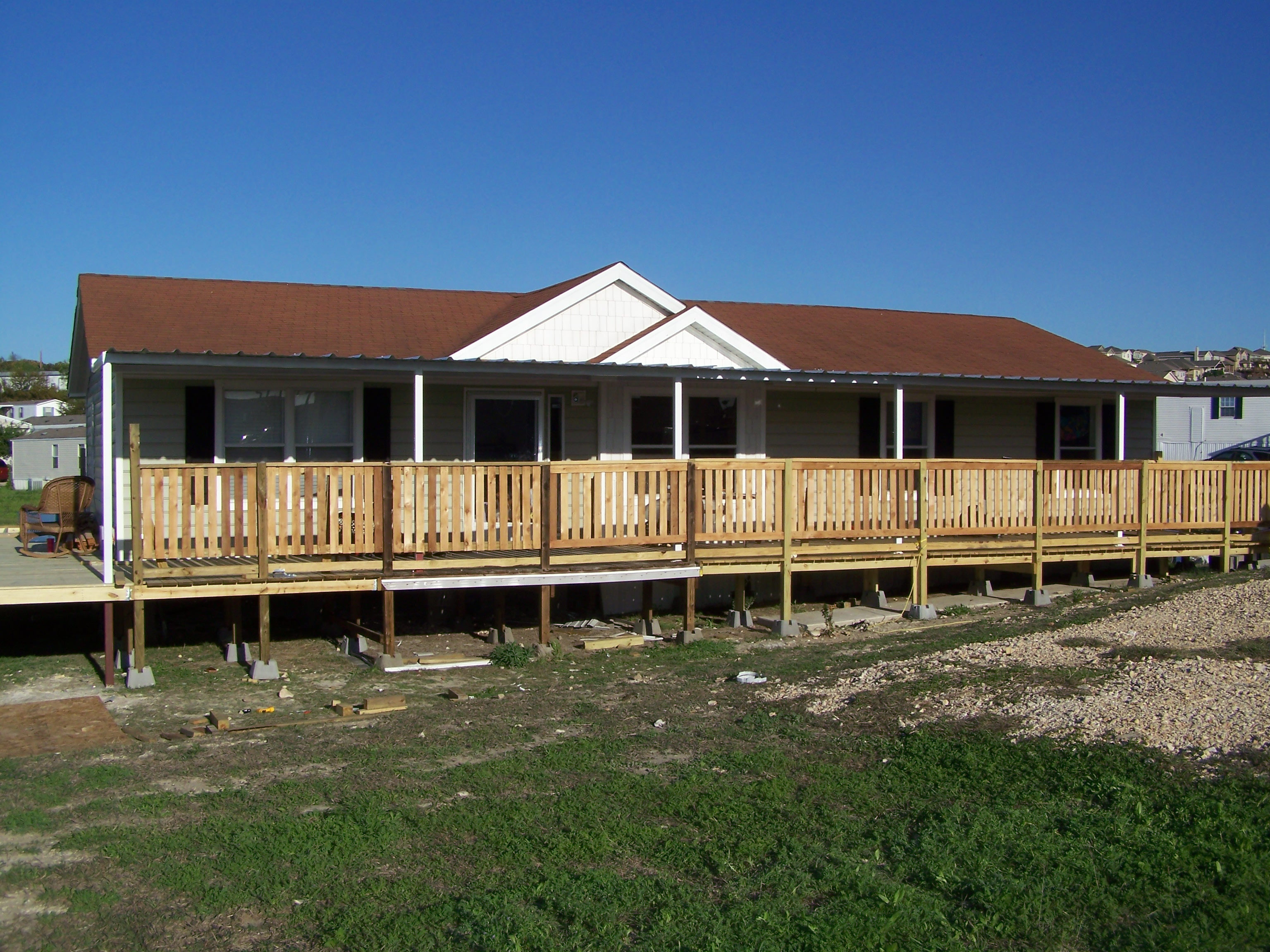 Portable Awnings For Decks : Custom deck steel awning attached to manufactured home