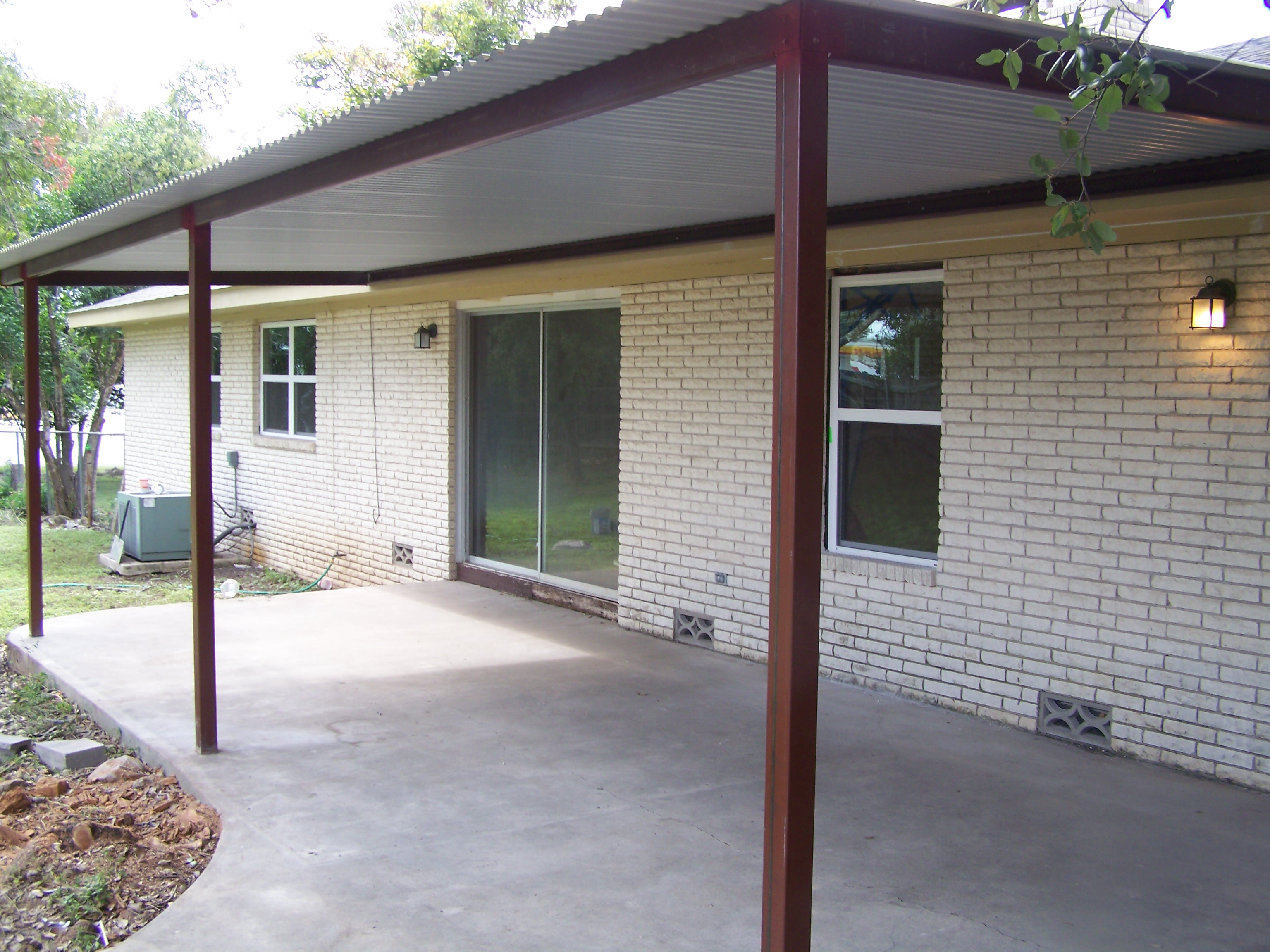 Custom steel porch steel awning cover new braunfels san for Carport deck