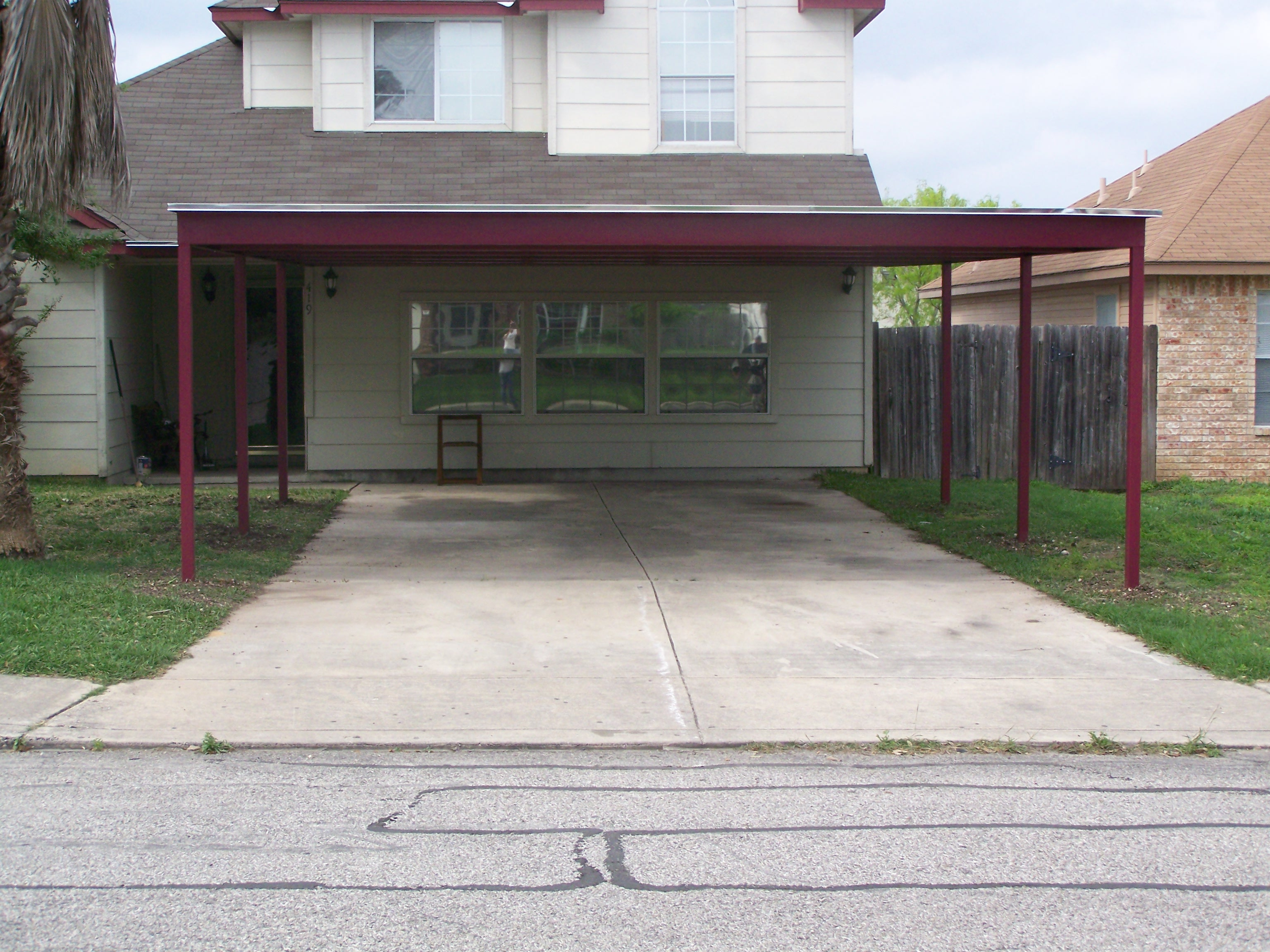 Custom metal carport and porch addition south san antonio for Carport additions