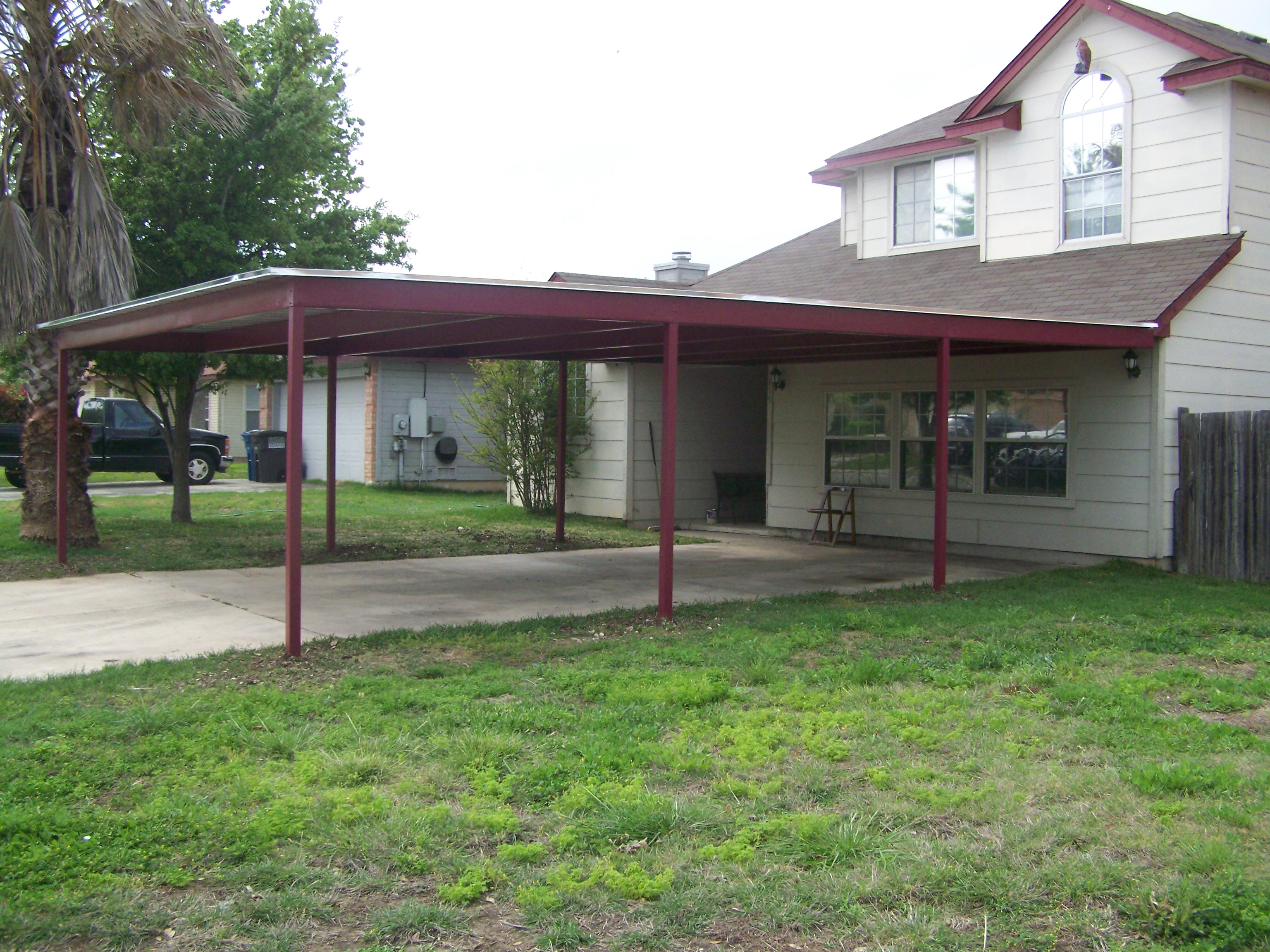 Custom Metal Carports : Custom metal carport and porch addition south san antonio