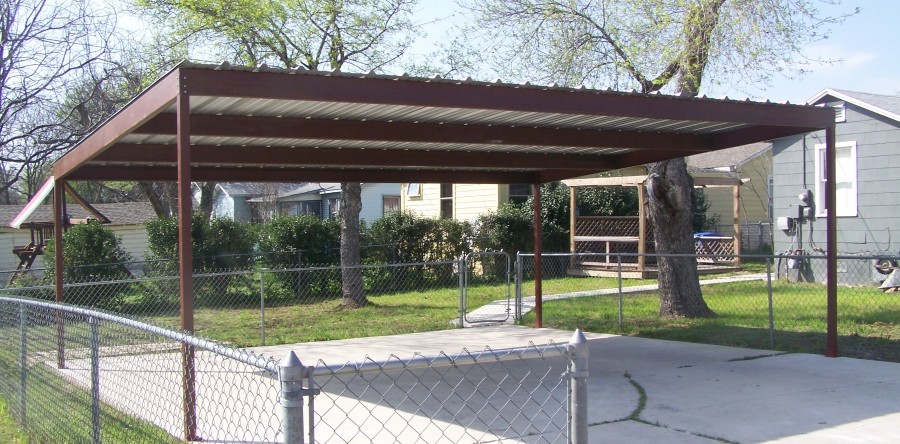 Metal two car carport north central san antonio for Carport detail