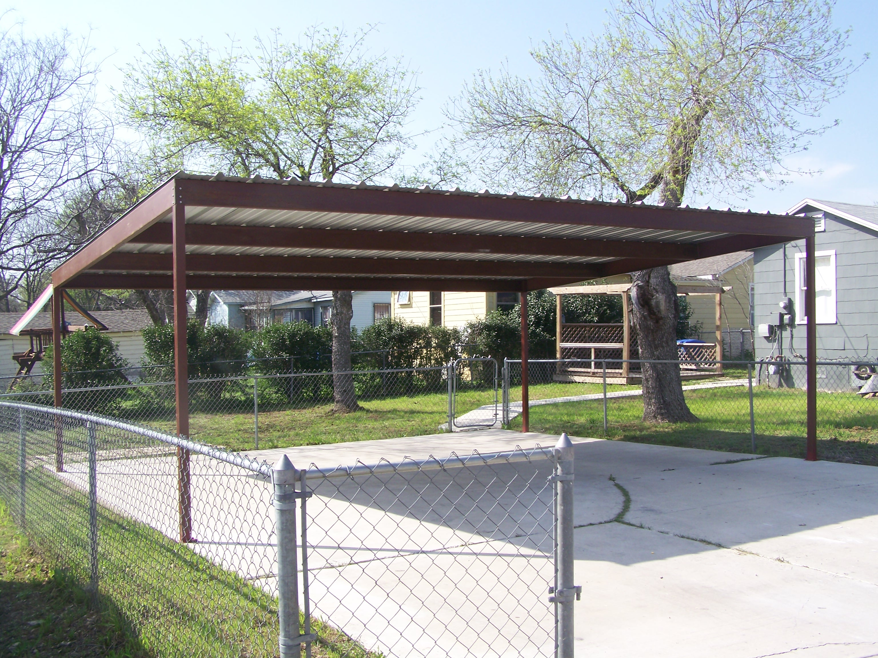Metal two car carport north central san antonio for 4 car carport plans