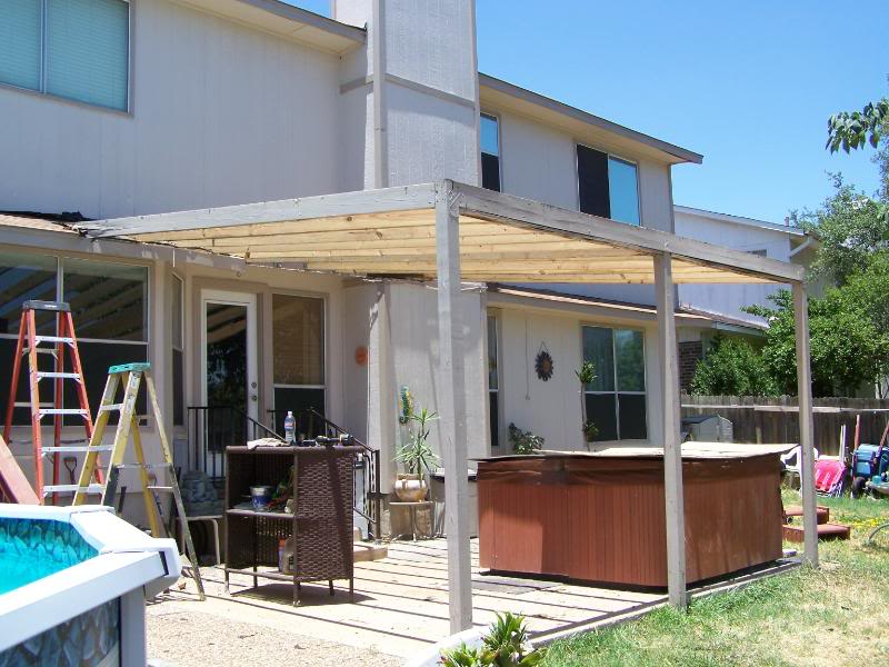 Wooden Awning Before Encino Park B Carport Patio Covers