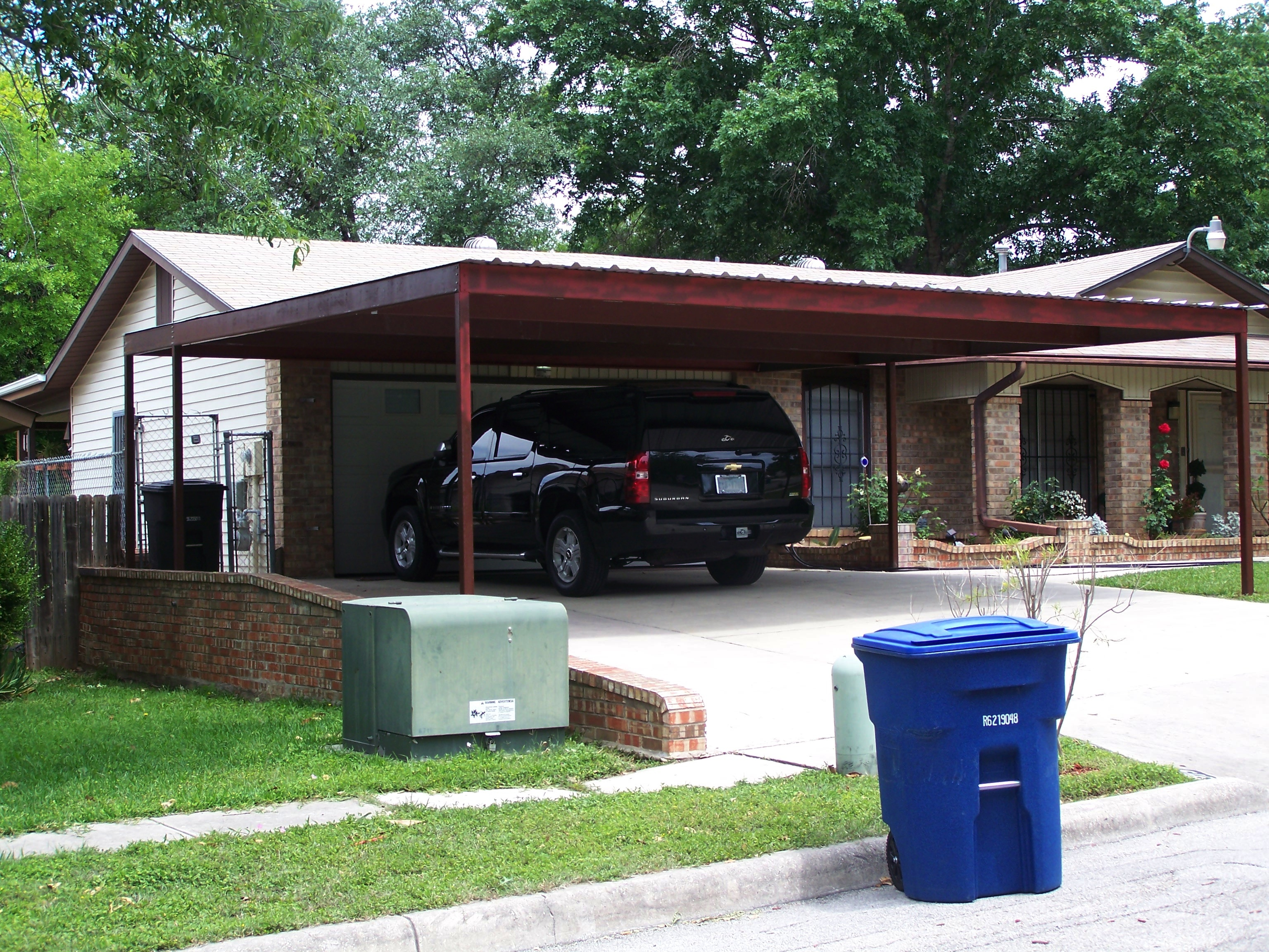 Two car attached carport north san antonio carport patio for Double car carport