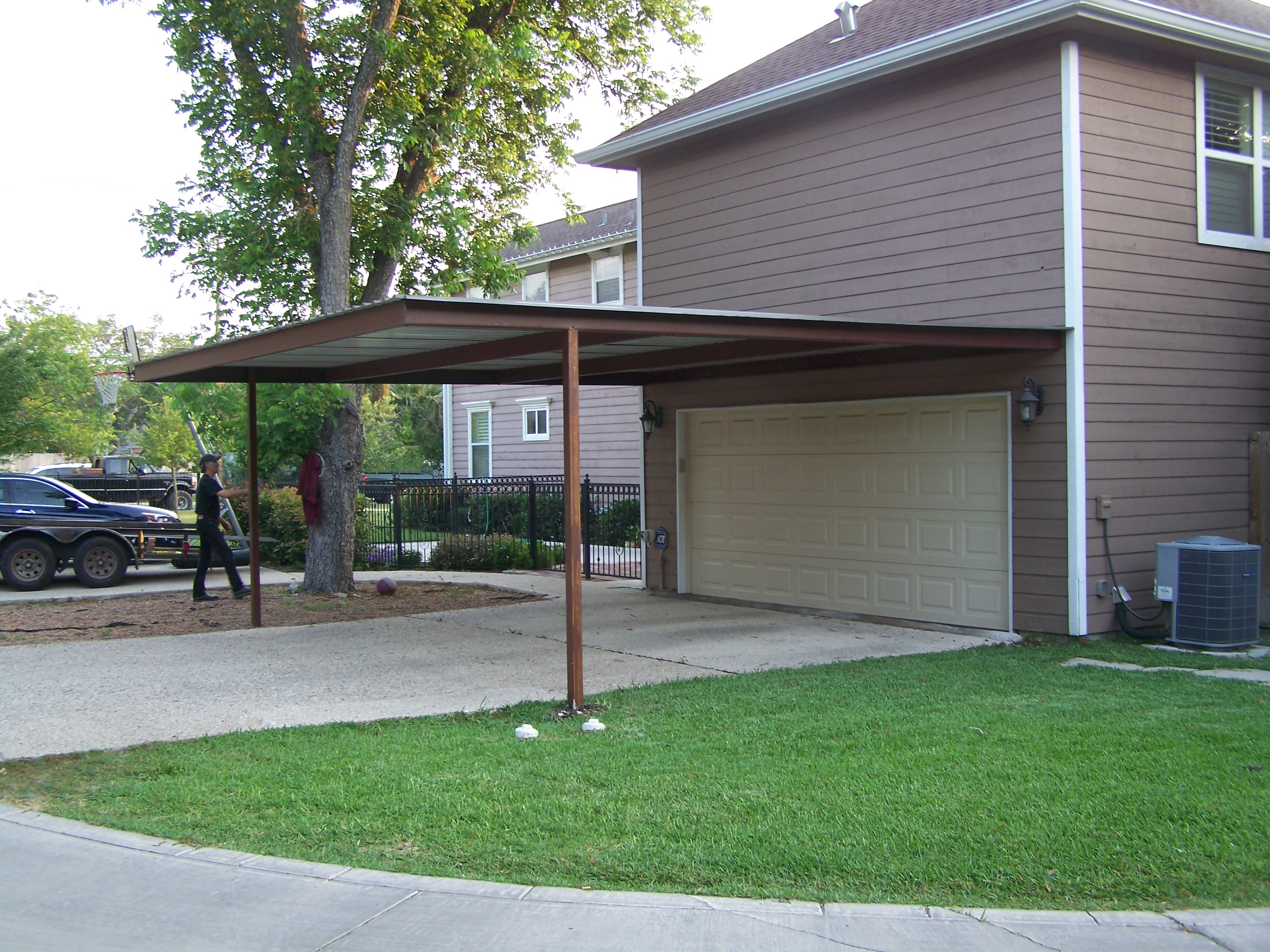 Alamo heights attached carport carport patio covers for Carport with storage shed attached