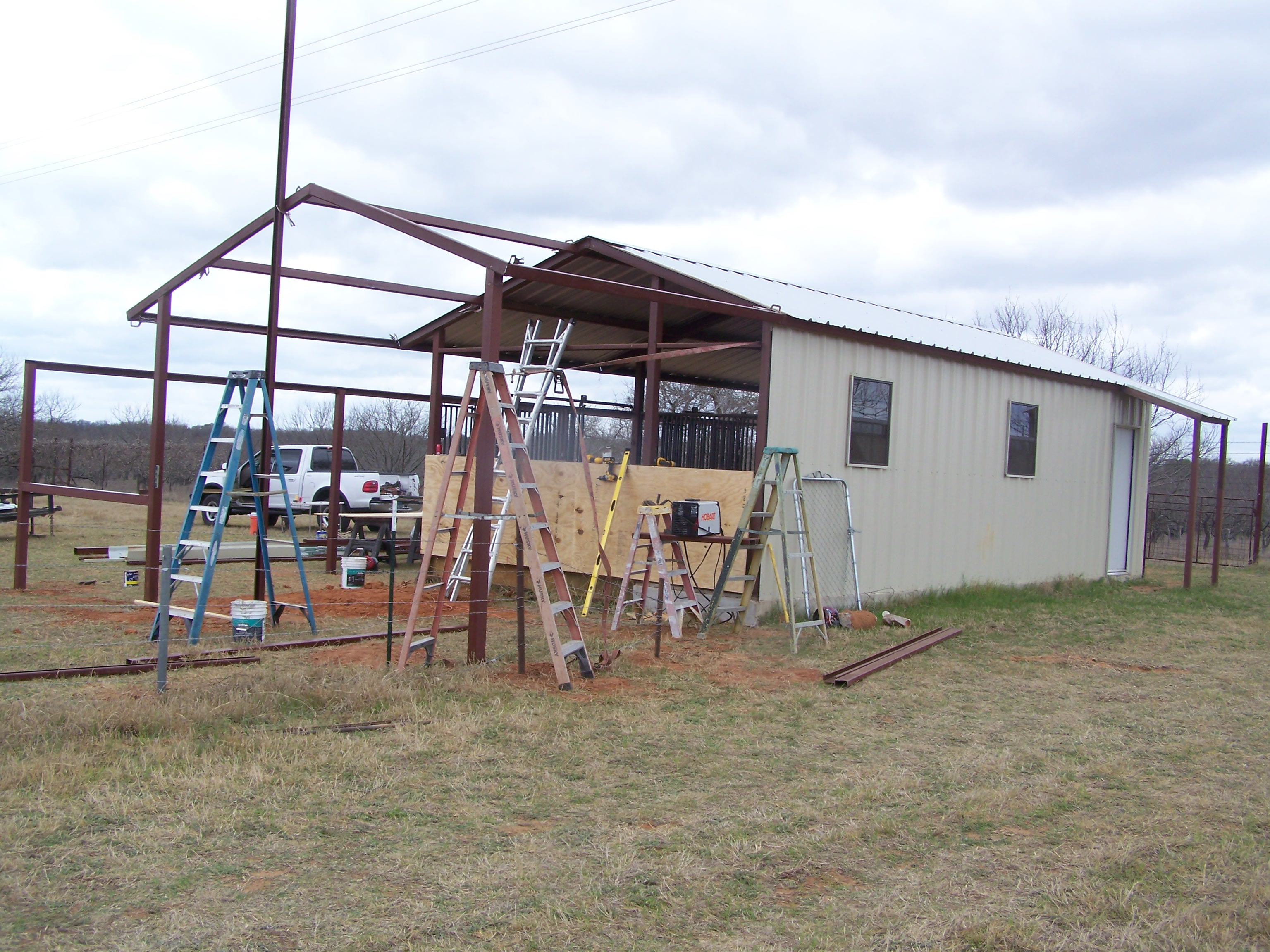 Kerrville Texas Steel Addition To Barn And Awning