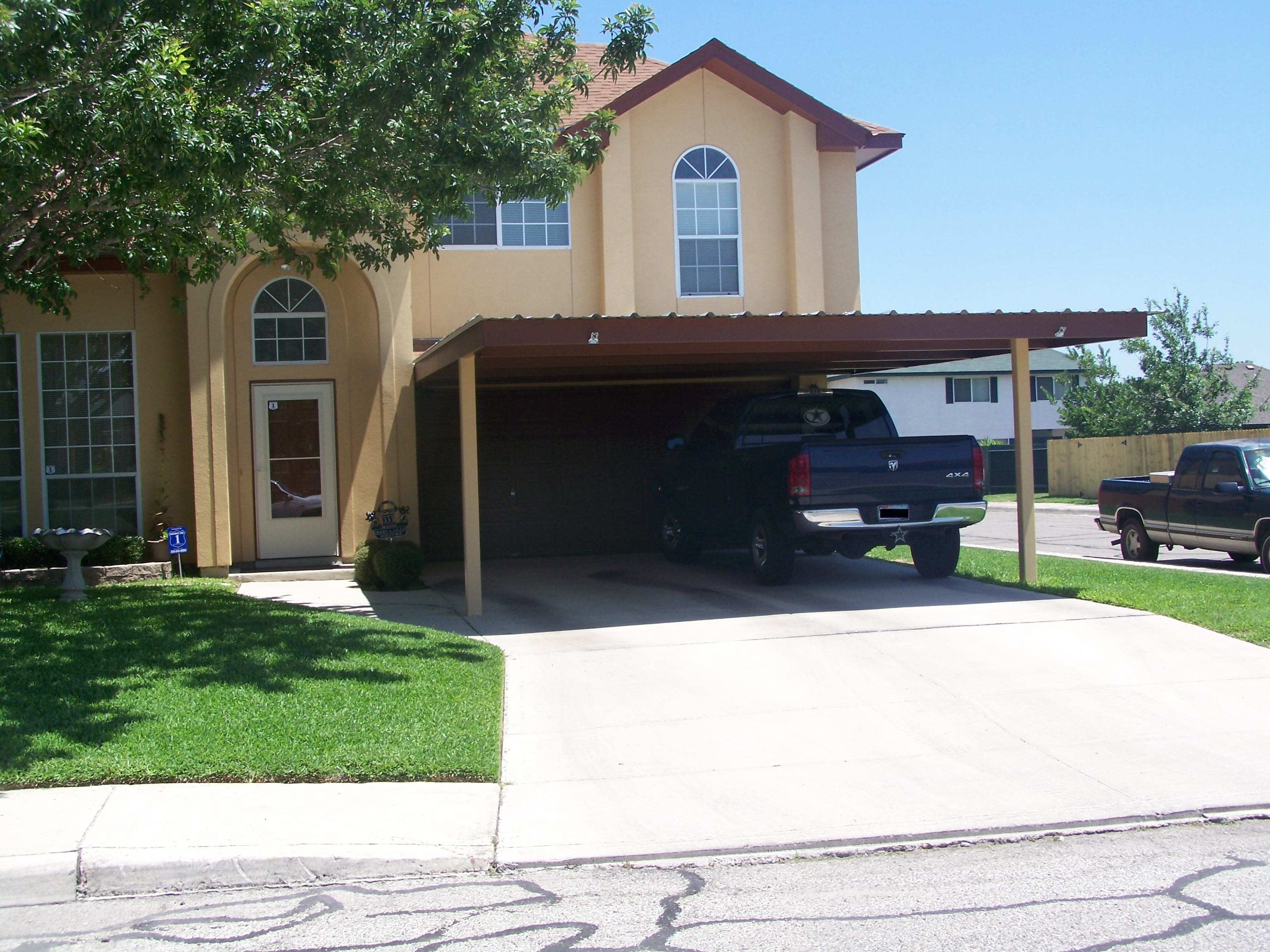 2 Car Attached Carport : Attached two post custom car carport south san antonio