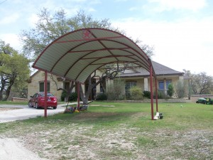 Custom Arched Carport with Decals Bulverde TX