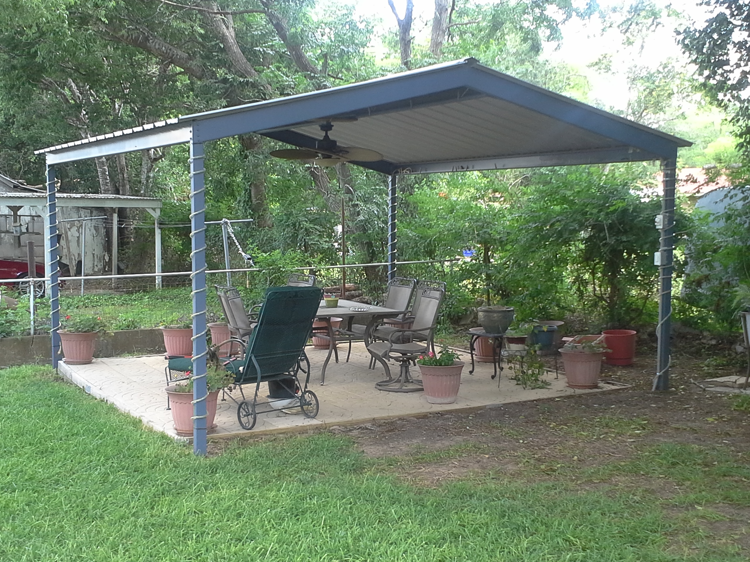 Mcqueeny texas free standing metal pavillion carport for Carport deck