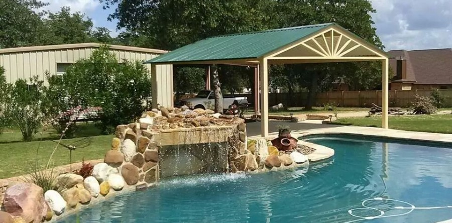 Custom Free Standing Awning Over Swimming Pool La Vernia, Texas ...