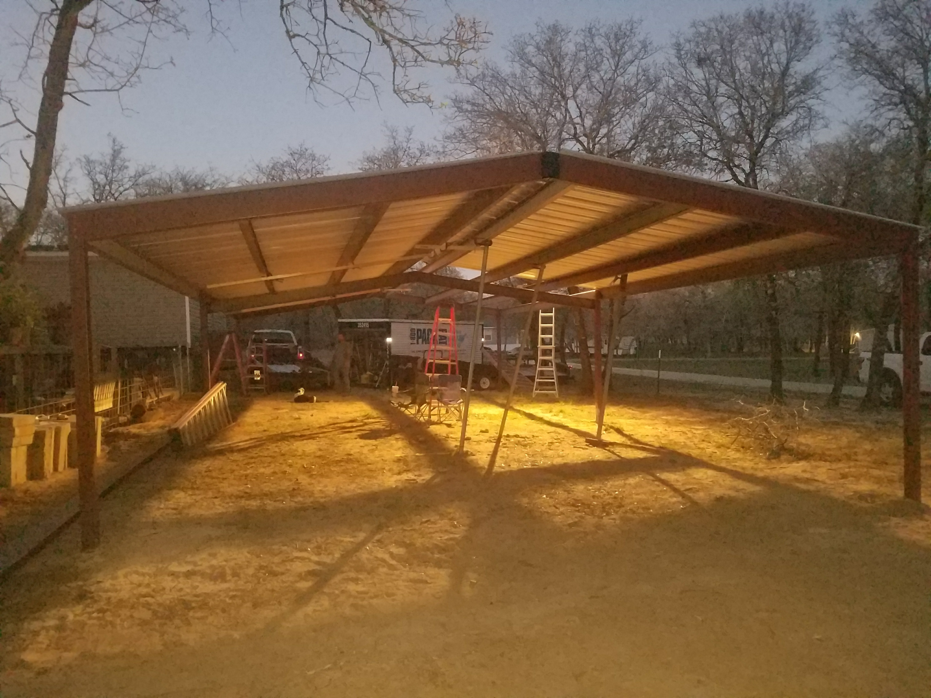 Adkins texas 20 39 x48 39 custom free standing carport for Covered car port