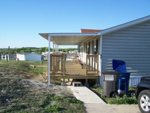 Custom Deck Steel Awning Attached to Manufactured Home North San Antonio