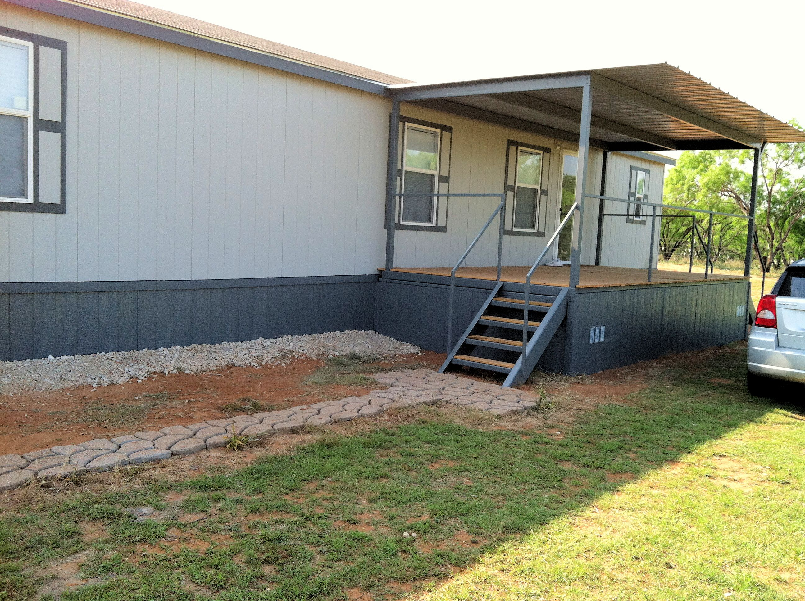 All steel awning patio cover deck ramp charlotte atascosa for Carport deck