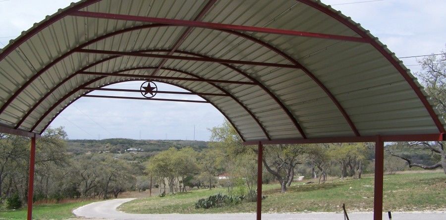 Custom Arched Carport With Decals Bulverde Tx Carport