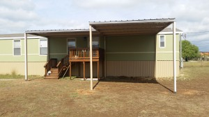 Front and Back Awning with Carport Attached to Mobile Home