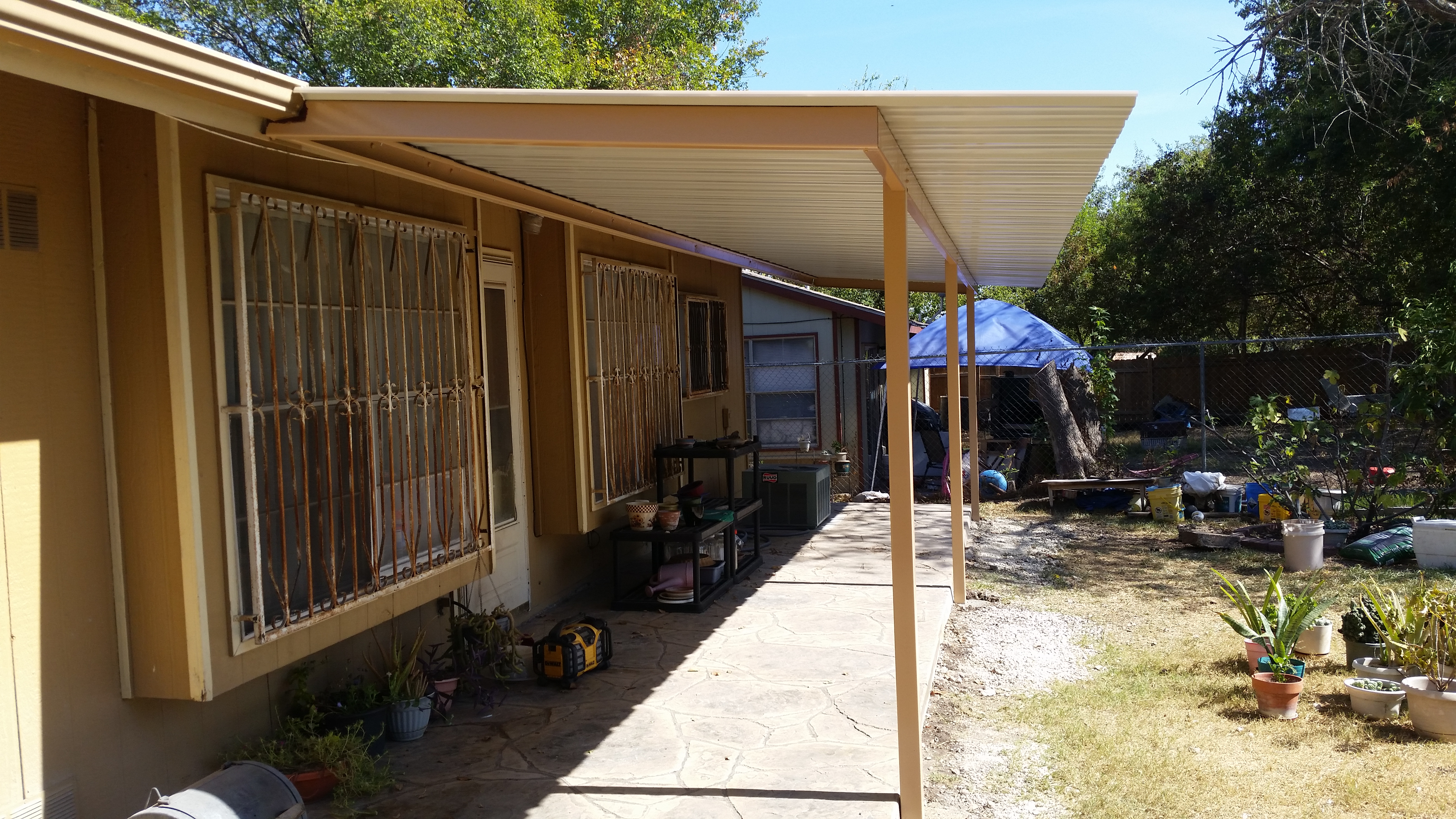 Premium colored panel lean-to awning - Carport Patio ...