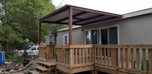 Small Deck and Patio Cover Wilson County Complete side view